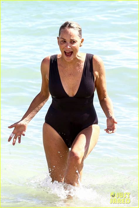 Sharon Stone Takes a Dip in a Black Bathing Suit at the