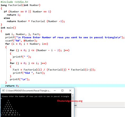 Program to print Pascal Triangle in C Programming