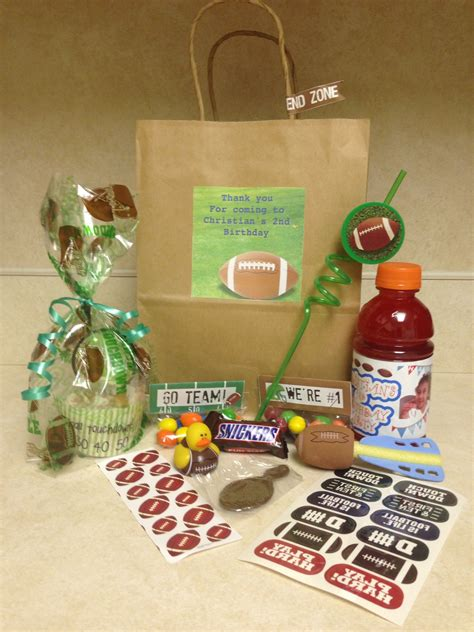 Here are some goodie bags for a birthday football party