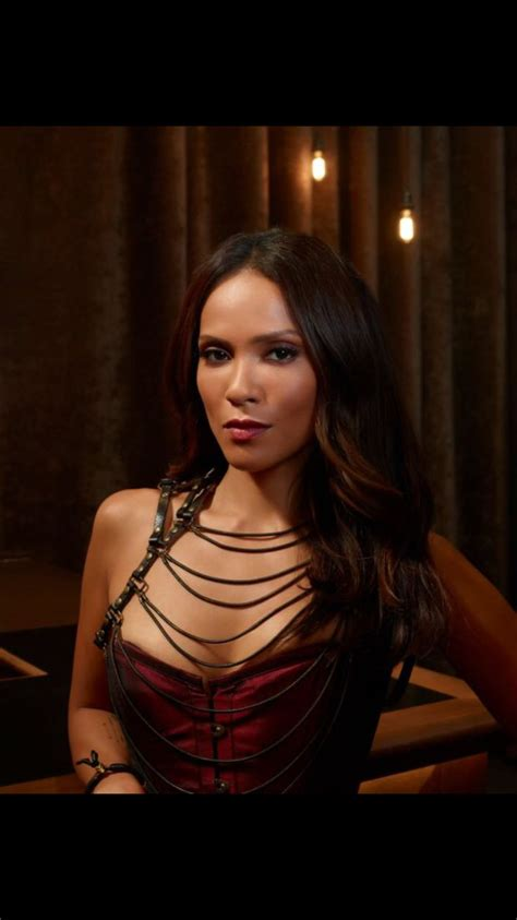 Maze from Lucifer on Fox wearing the leather harness