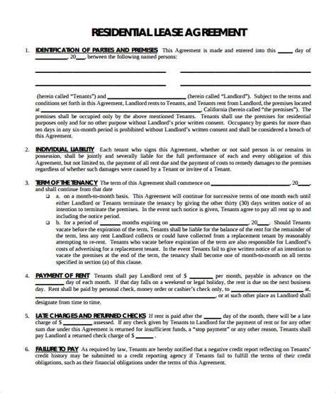 FREE 11+ Residential Lease Agreement Templates in PDF   MS