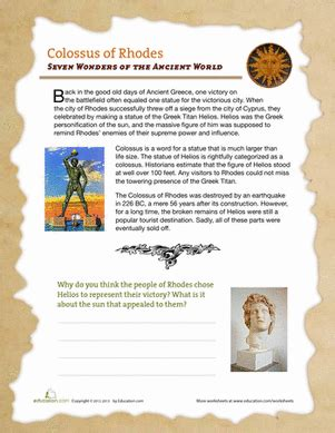 Colossus of Rhodes   Worksheet   Education