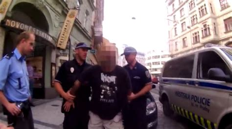 Czech Police arrest drunk giving Nazi salute and shouting