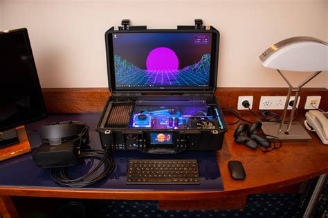Guy converts luggage case into a liquid-cooled gaming PC